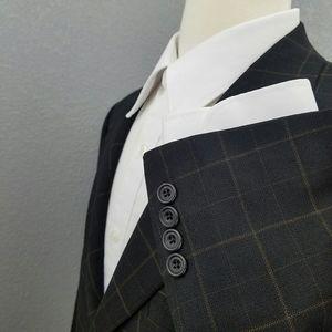 Hickey Freeman Windowpane Check Sport Coat Blazer